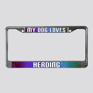 My Dog Loves Herding License Plate Frame (Rainbow)